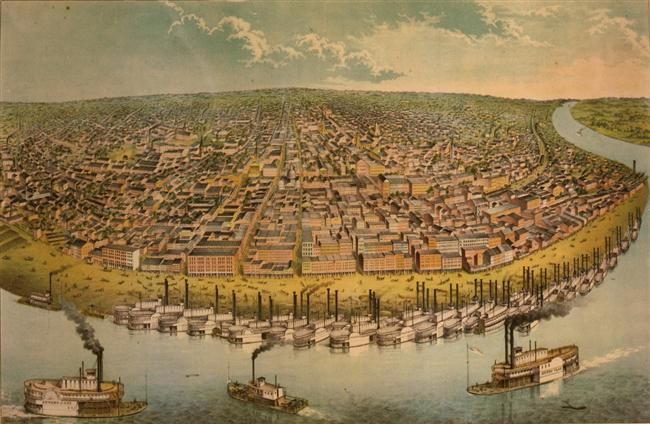 Bird's-eye view of Saint Louis, Missouri as seen from above the Mississippi River (lithograph by A. Janicke & Co.) - Library of Congress